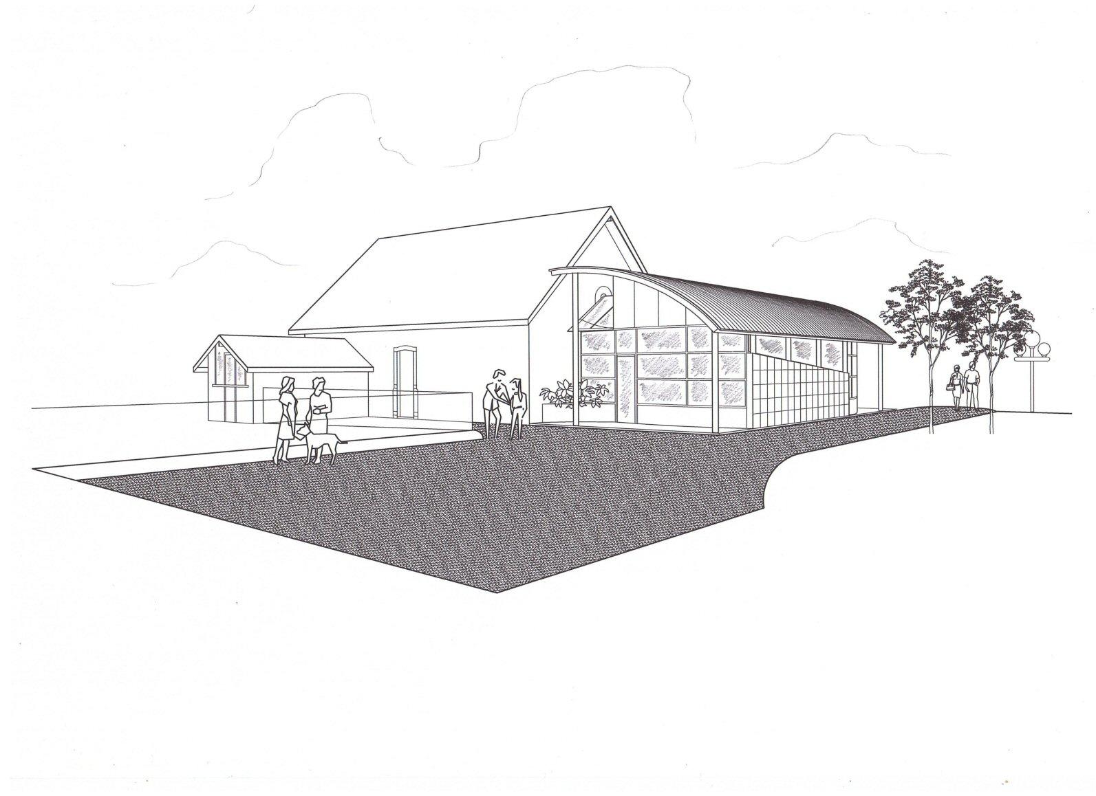 Perspective projet de construction de la mairie (64) - Architecte Jean-Marc Ritondo