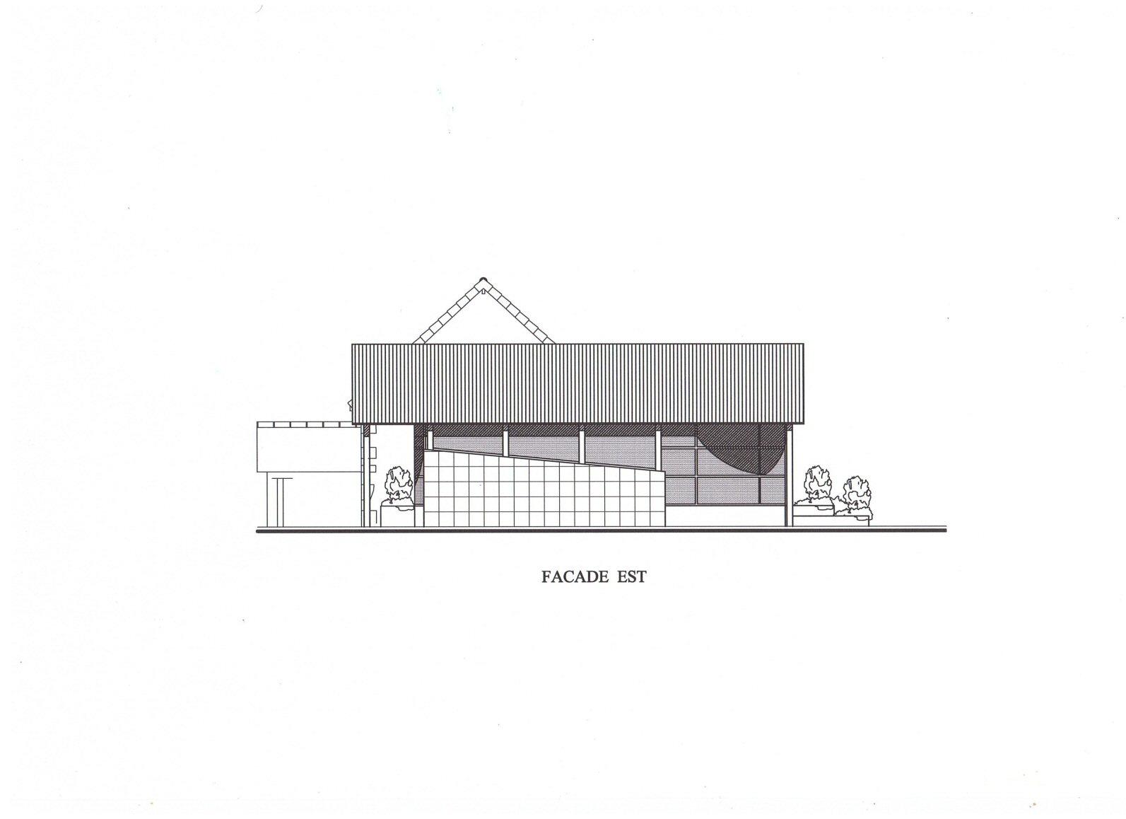 Vue façade est projet de construction de la mairie (64) - Architecte Jean-Marc Ritondo