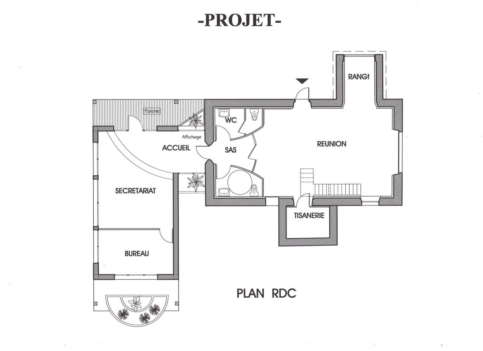 Projet de plan de construction de la mairie (64) - Architecte Jean-Marc Ritondo